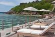 terrasse de relaxation au bord du lagon, Seychelles