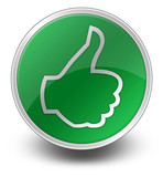 "Green Glossy Icon ""Thumbs Up"""