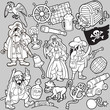 Big Black and White Set of Pirates Items, Icons
