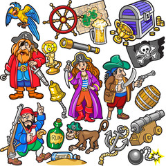 Big Colorful Set of Pirates Items, Icons