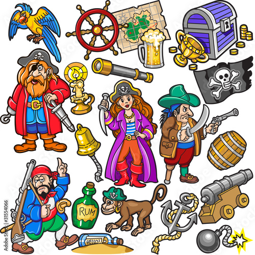 Deurstickers Piraten Big Colorful Set of Pirates Items, Icons