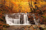 Fototapety beautiful waterfall in forest, autumn landscape