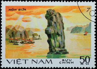 VIETNAM - CIRCA 1980s:  stamp - sailing boat on sea channel