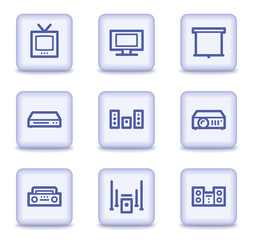 Audio video web icons, light violet glossy buttons