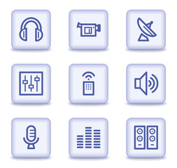 Media web icons, light violet glossy buttons