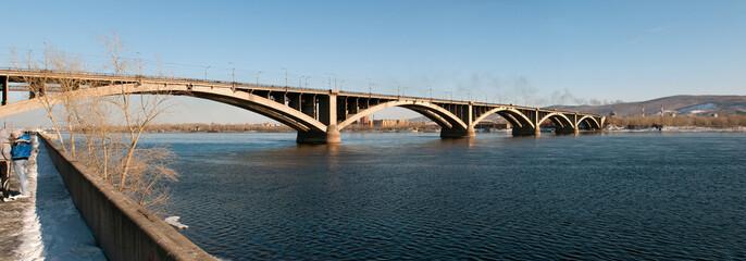 View on Krasnoyarsk and bridge over the Enisei river. Russia