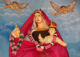 Madonna with baby. Catholic pilgrimage center. DIVINE MERCY CENT poster
