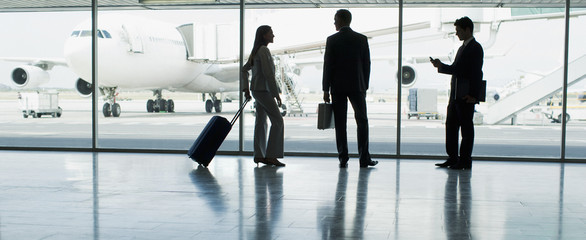 Businesspeople with suitcase in airport