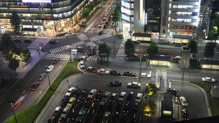 Time lapse street nightlife at main station Kyoto, Japan.