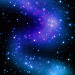 Star on space at night