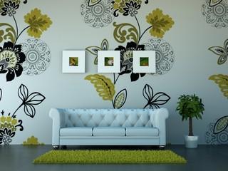 Innendesign - weisses Sofa mit grünen Ornamenten
