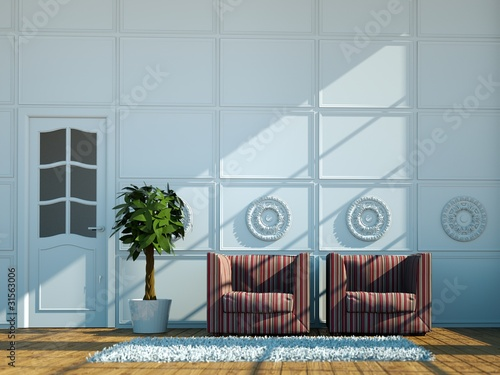 3d Rendering Sessel vor Stuckwand