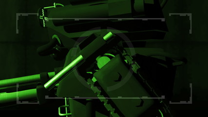 Robot mech warrior in nightvision