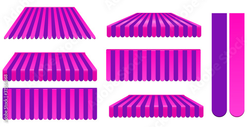 pink and purple awnings set isolated on white