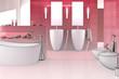 Badezimmer in rot (3d)