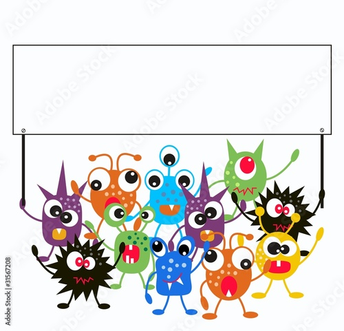 Keuken foto achterwand Schepselen a group of monsters holding a placard