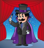 Cartoon magician on circus stage poster