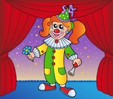 Clown girl on circus stage 1 poster