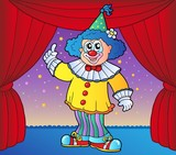 Clown on circus stage 2 poster