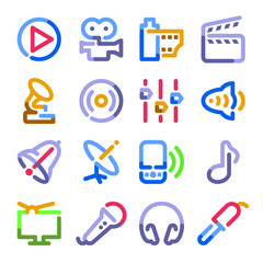 Audio video icons. Color contour series.