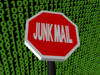 Stop Junk Mail sign on binary code background