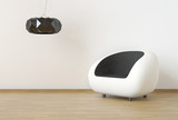 Interior design with minimal modern furniture in white and black