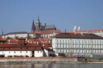 Prague Castle from the River Vltava in Czech Republic