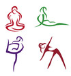 Yoga poses  symbols set in simple lines part3