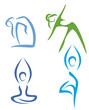 Yoga poses  symbols set in simple lines part2