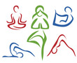 Yoga poses  symbols set in simple lines part1