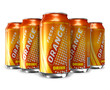 Set of orange soda drinks in metal cans