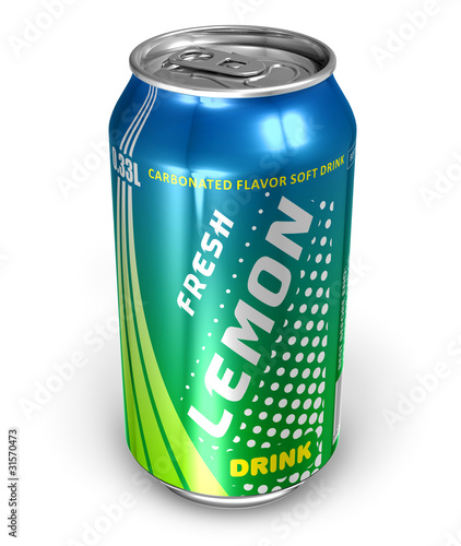 Lemon soda drink in metal can
