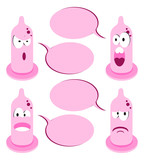 4 funny cartoon condom talking bubble speech