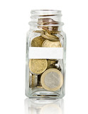 Jar full with coins and with placeholder for text poster