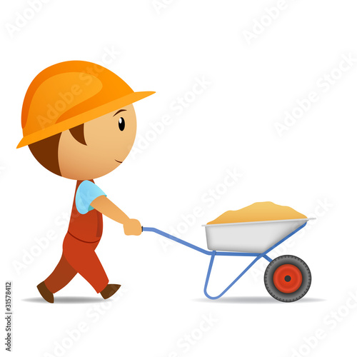 Cartoon vector worker with wheelbarrow
