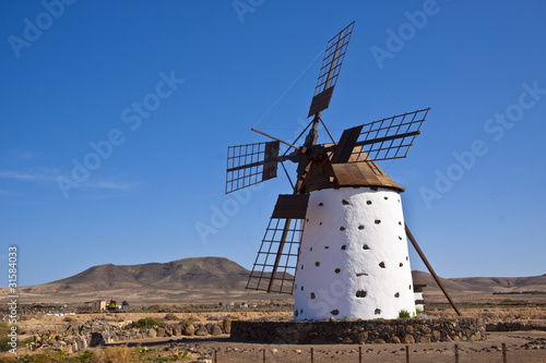A traditional windmill at the Fuertaventura