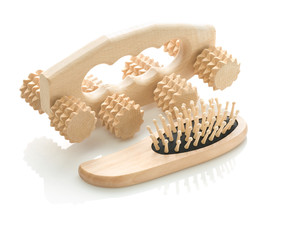 wooden massager with hairbrush