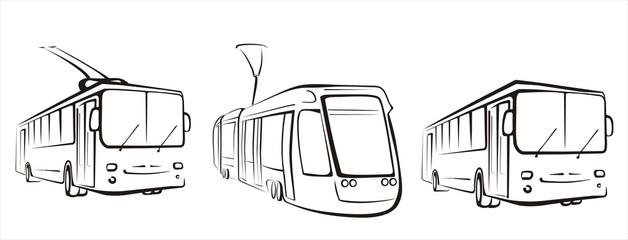 public transport set of symbols