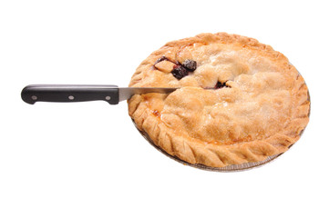 cherry pie with knife in it - isolated