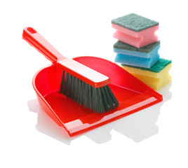 brush on dustpan with sponges