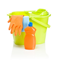 bucket with bottle glove and rug