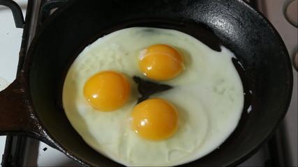 Fried eggs on black pan