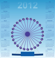 2012 calendar Optical illusion Ferris wheel