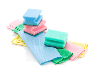 collection of rags and sponges