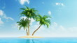 Growing palm trees on island at sea, timelapse-style animation