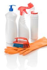 gloves bottles and brush