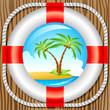 Rettungsring und Insel mit zwei Palmen