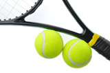 Two tennis ball on racket isolated on white background.