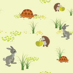 vector seamless texture with animals