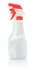 isolated white cleaner bottles